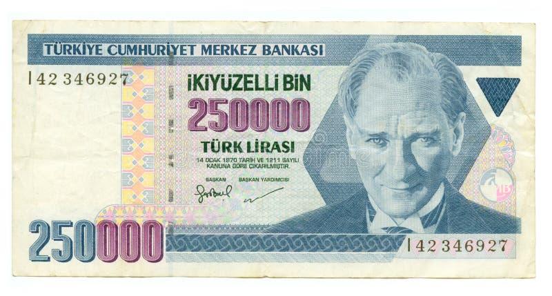 250000 lire bill of Turkey royalty free stock photography