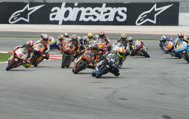 250cc ras bij de Maleise Motorfiets GP Sepang van 2008 stock afbeelding