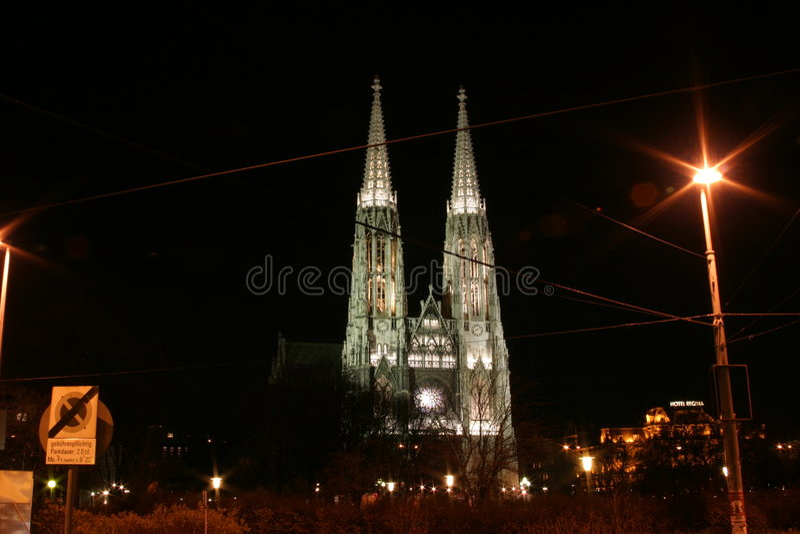 教会kirche维也纳votiv 免版税图库摄影