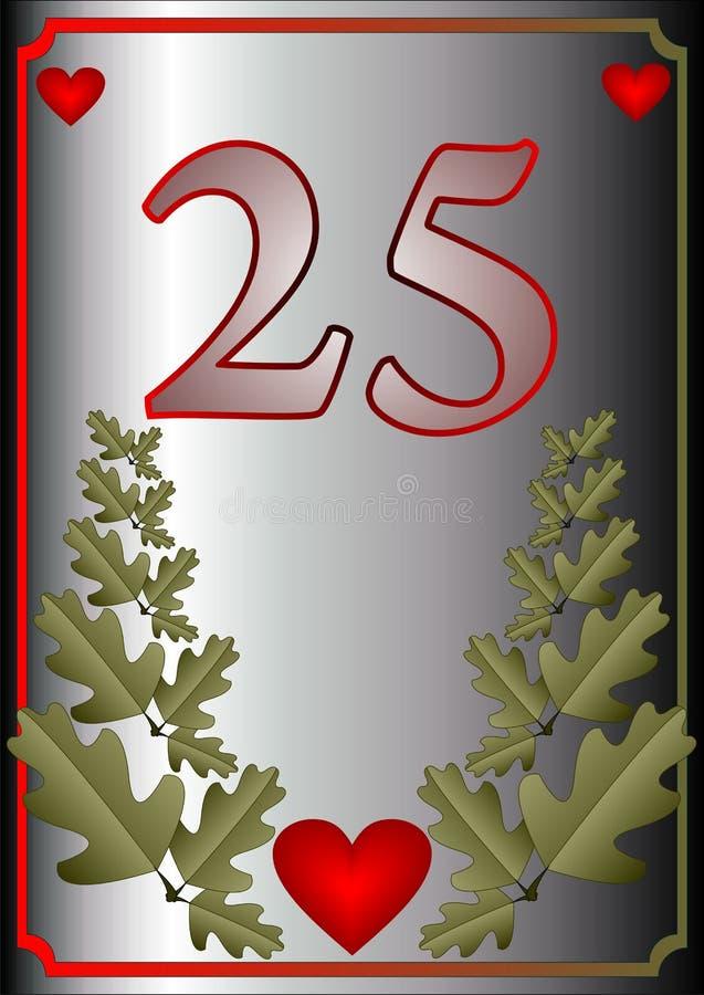 25ta tarjeta del aniversario libre illustration