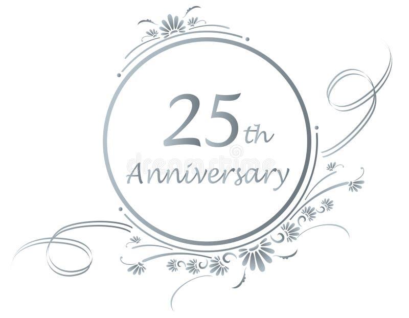 25th årsdagdesign royaltyfri illustrationer