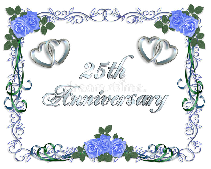 25th венчание приглашения граници годовщины бесплатная иллюстрация