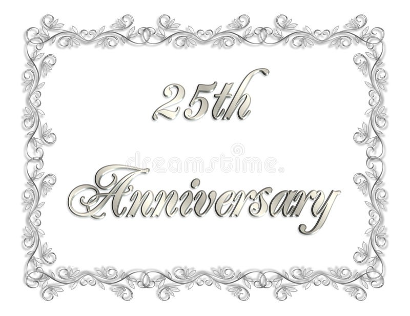 25th Anniversary Invitation 3D illustration stock illustration