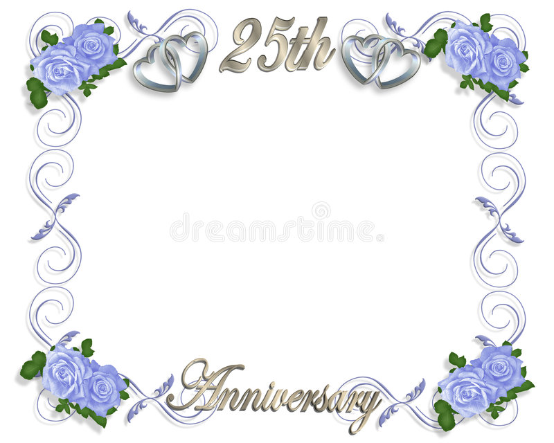 25th anniversary template stock illustration illustration of 3d silver hearts with blue roses for 25th wedding anniversary card or party invitation background frame or border stopboris Image collections