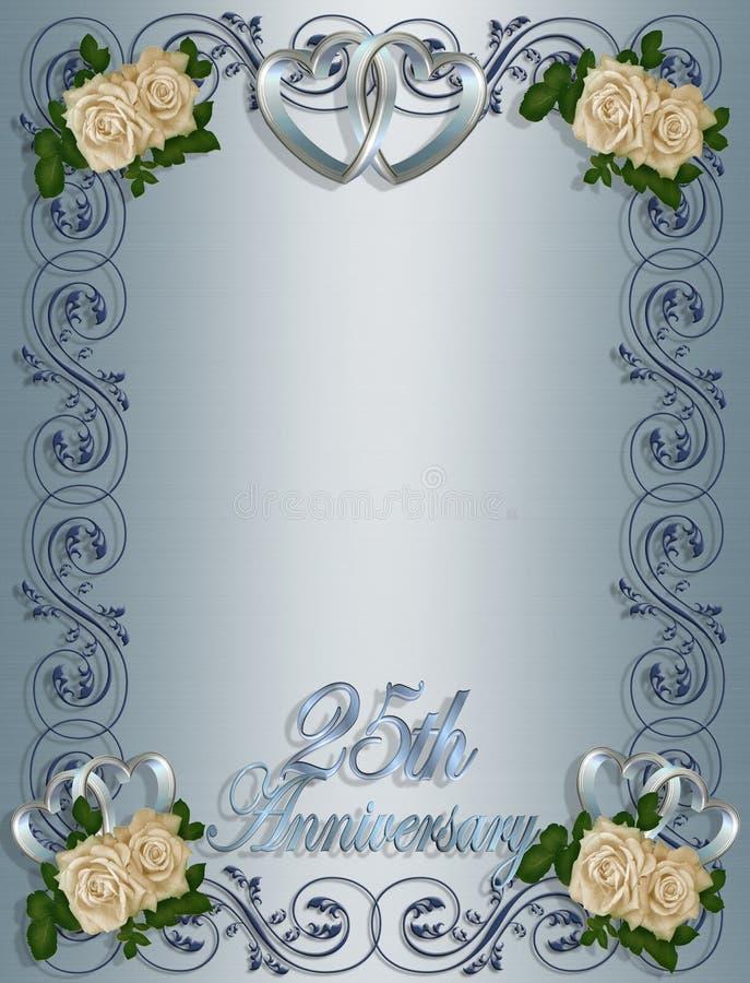 25th Wedding Anniversary Invitation vector illustration