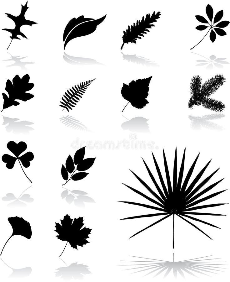 26 liści ikon ustalonych ilustracji
