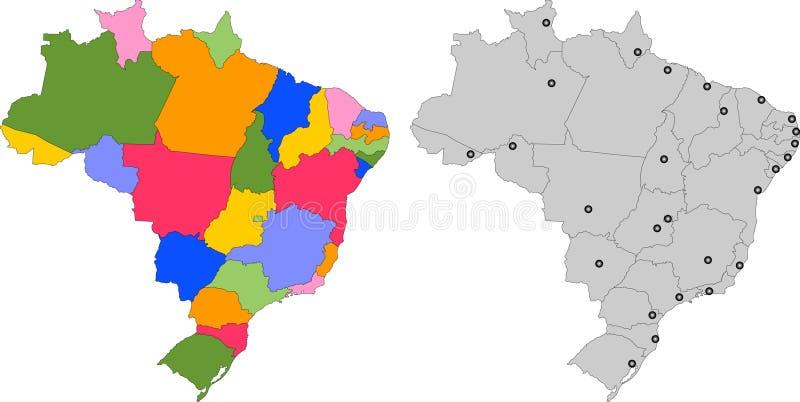 27个巴西例证映射splited状态 向量例证