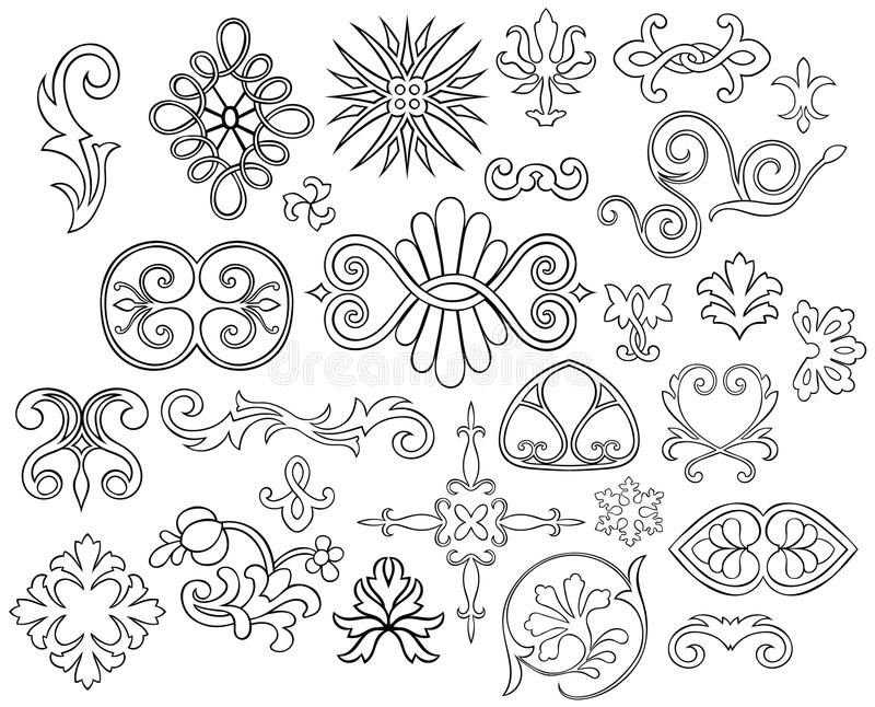 Download 27 Stylized Outlined Motifs Stock Vector - Illustration: 19438178