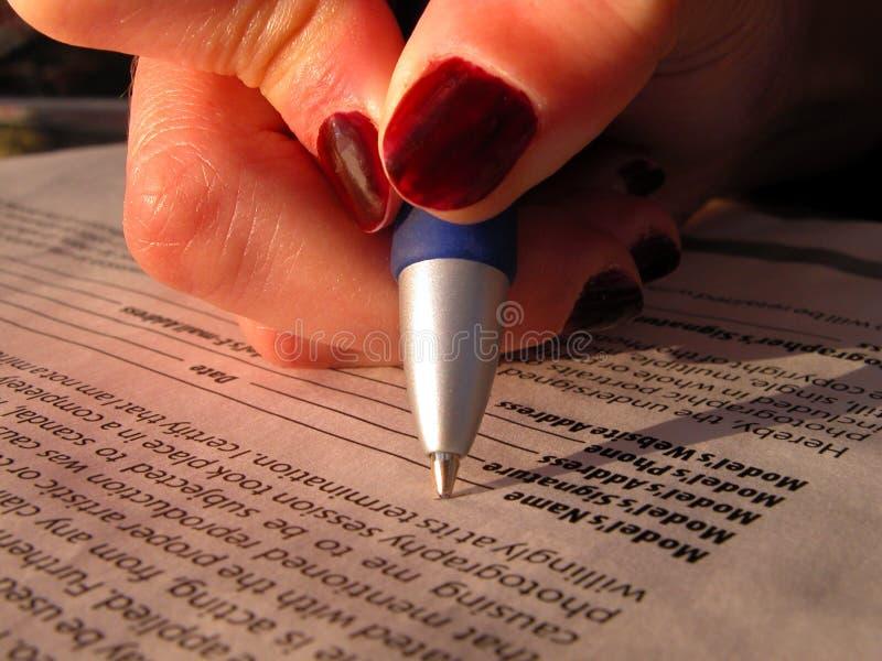 模型版本签字 免版税库存照片