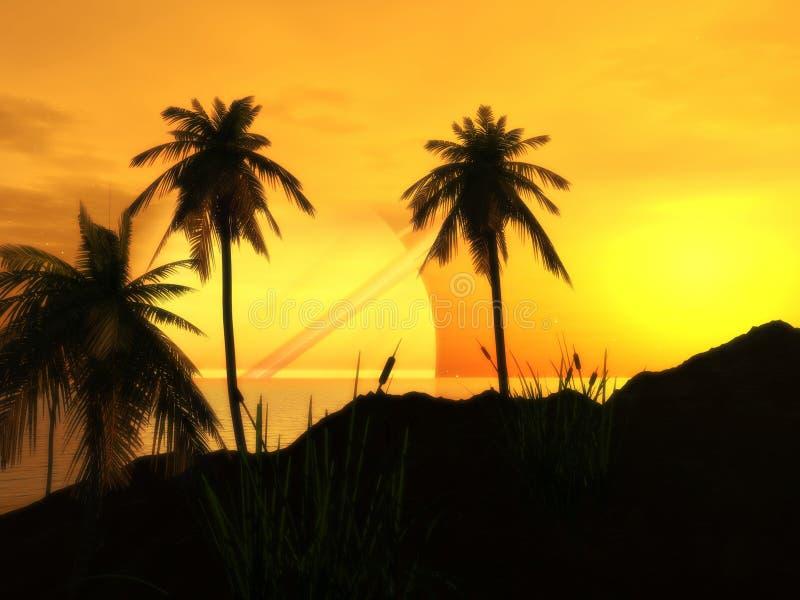 氩海滩日落 向量例证