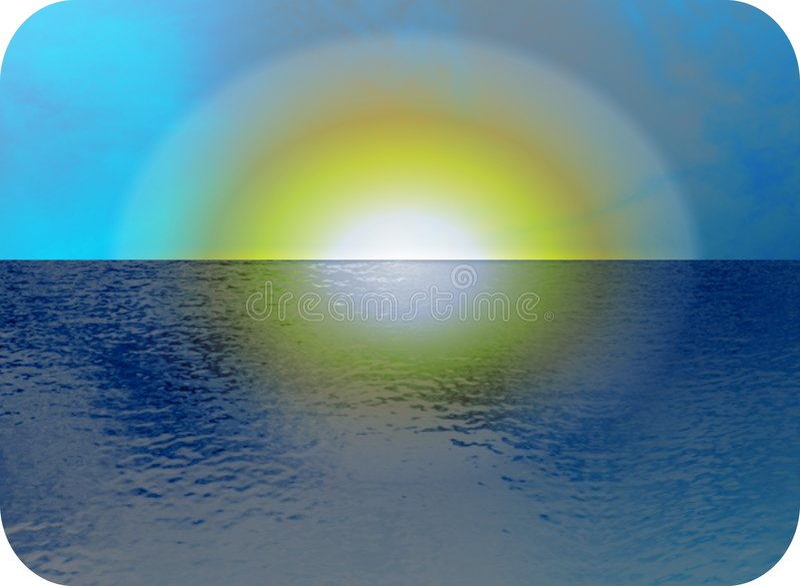 海景日落 向量例证
