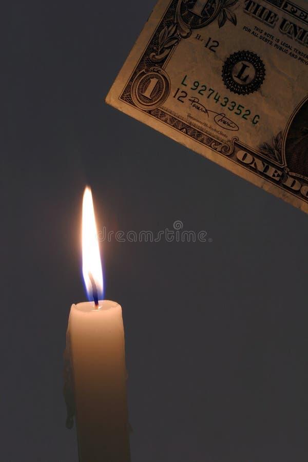 烧伤货币 免版税图库摄影