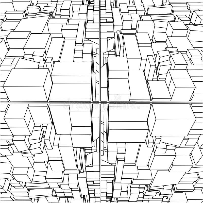 29个抽象配件箱城市多维数据集都市向 向量例证