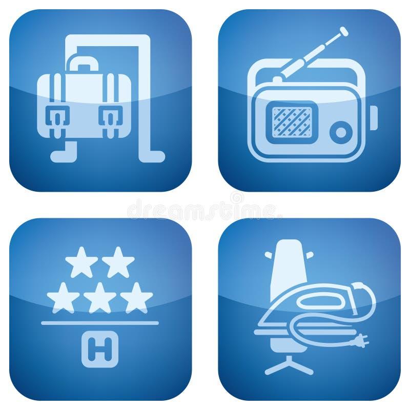 2d установленные иконы гостиницы кобальта приданными квадратную форму бесплатная иллюстрация