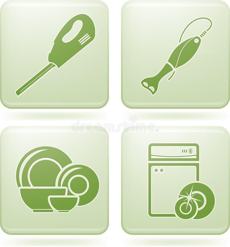 2d утвари установленного квадрата кухни икон кобальта бесплатная иллюстрация