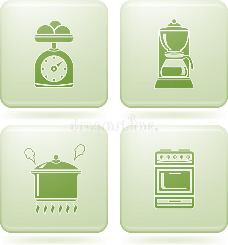 2d утвари установленного квадрата olivine кухни икон иллюстрация штока