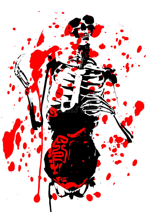 2d Skelett- Blodiga Innanmäte Fotografering för Bildbyråer