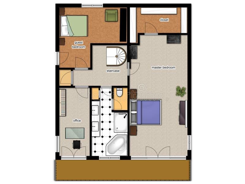 2D Stockplan der Stufe des Hauses zweite. stock abbildung