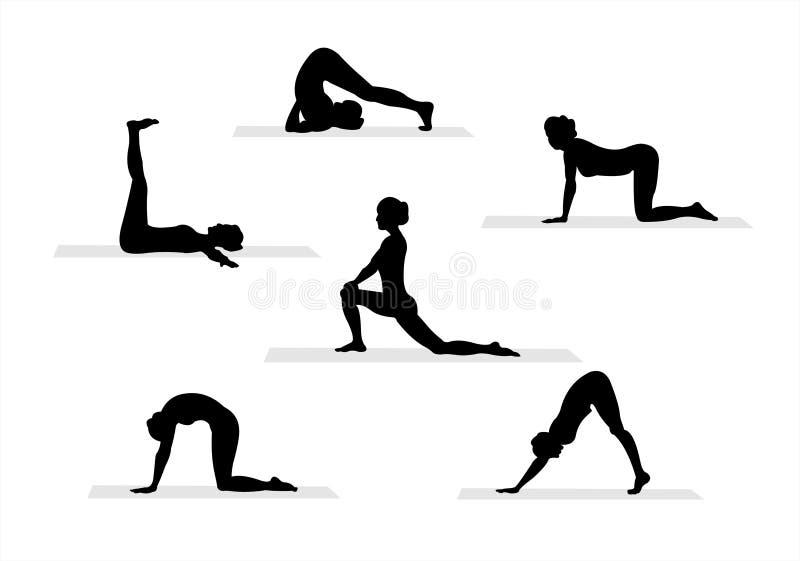 3个剪影瑜伽 库存例证