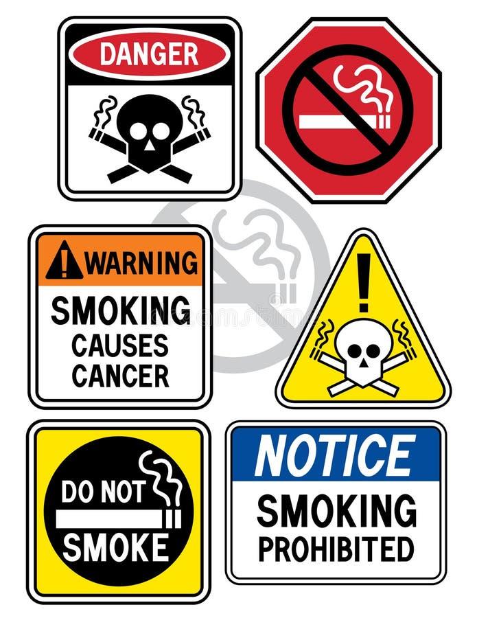 3个危险等级符号抽烟 向量例证