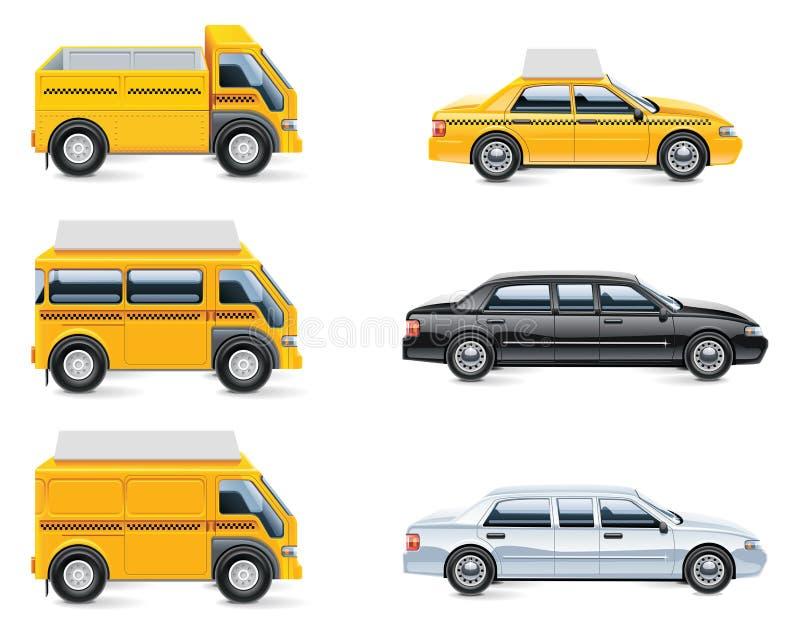 3个图标分开服务出租汽车向量 向量例证