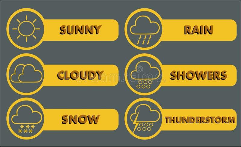 3个图标天气 皇族释放例证