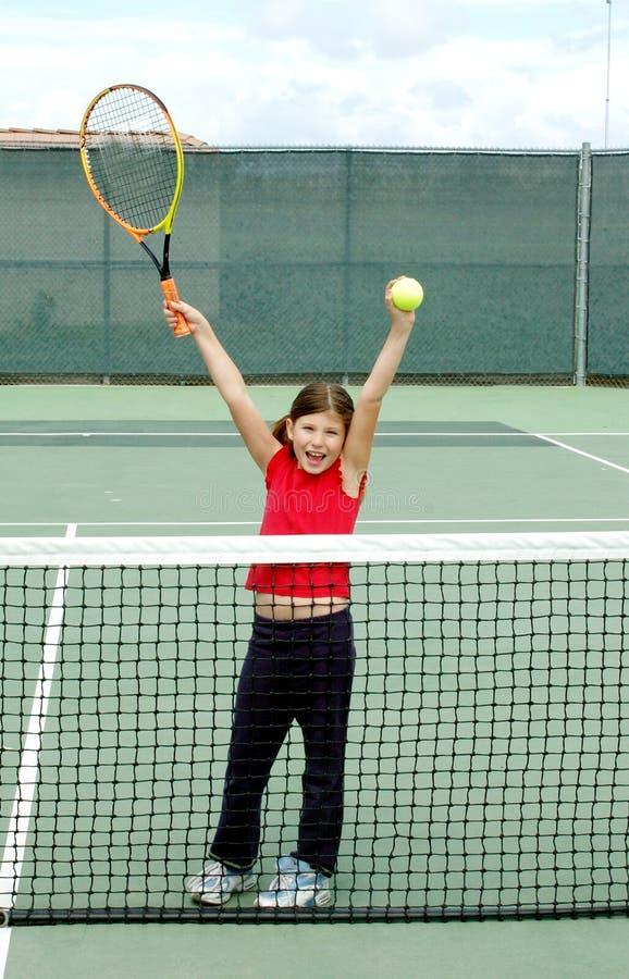 3个女孩网球 免版税库存图片