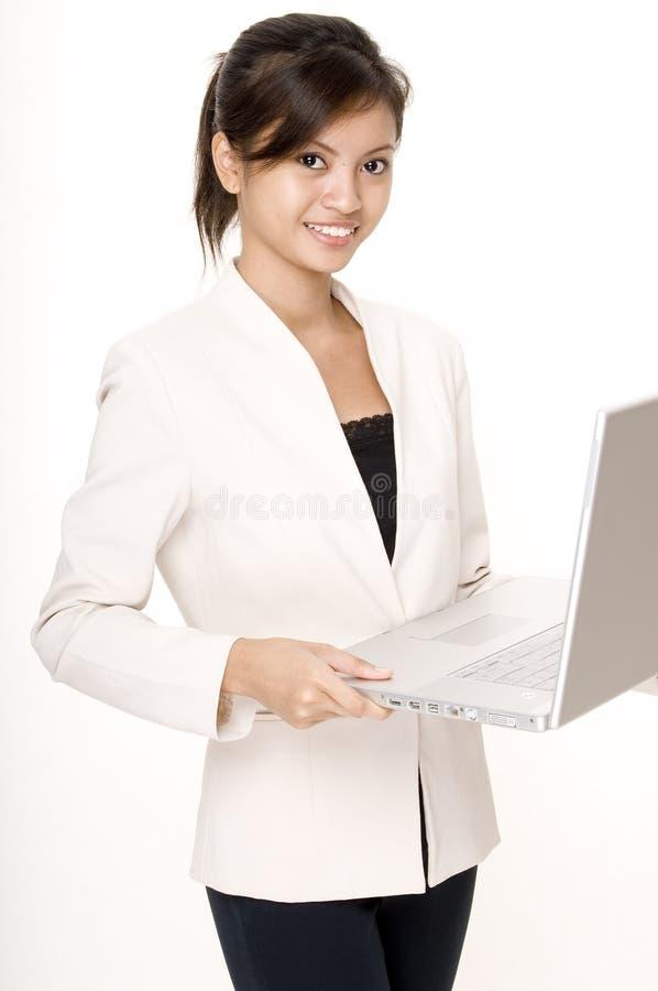 3个女孩膝上型计算机 库存图片