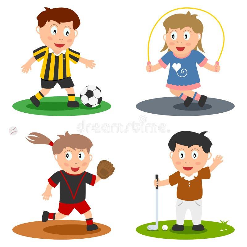 3个收集孩子体育运动 库存例证