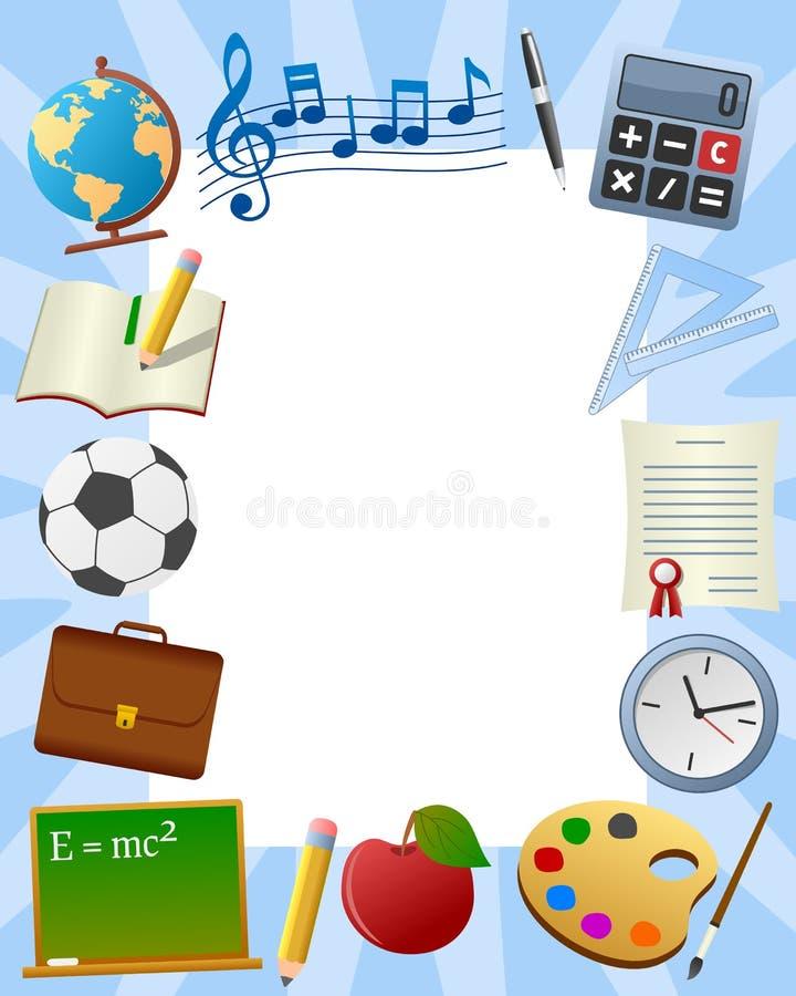 3个框架照片学校 库存例证