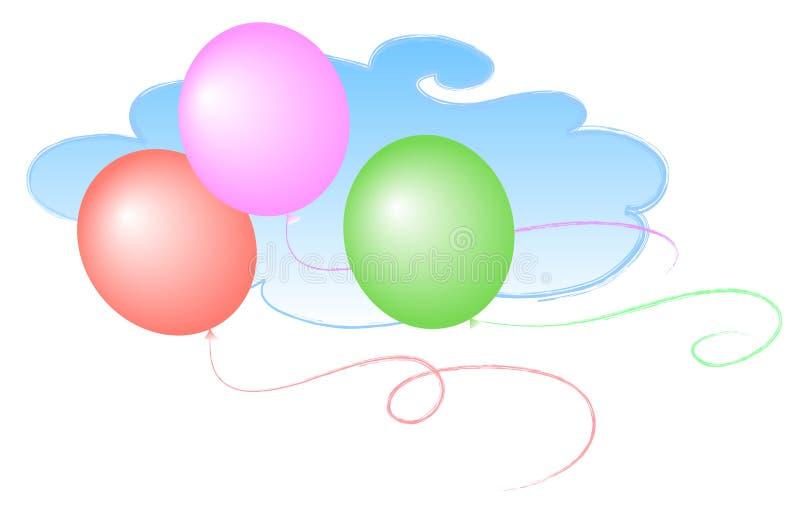 3个气球天空 皇族释放例证