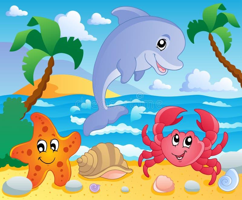 3个海滩风景主题 库存例证
