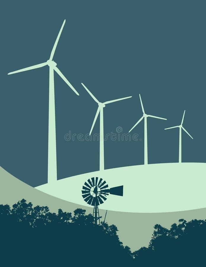 3个涡轮风风车 皇族释放例证