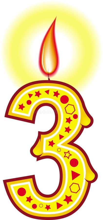 3个生日蜡烛 向量例证