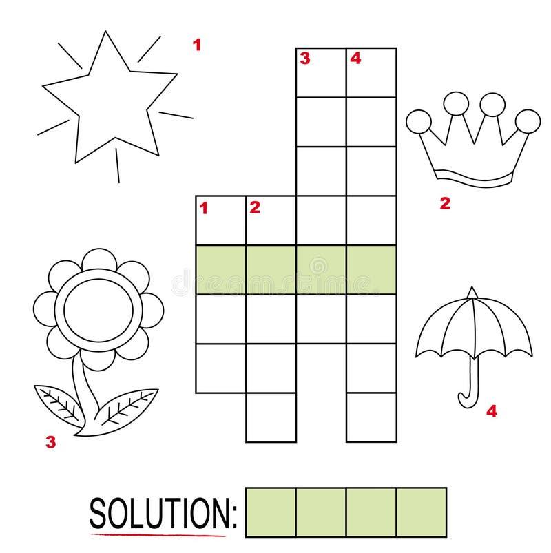 3个纵横填字谜孩子零件难题 向量例证