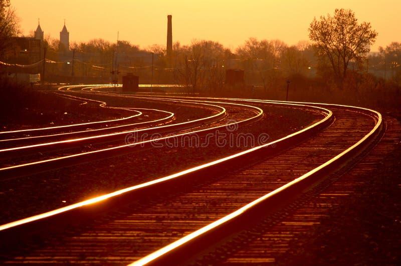 3主流铁路日出 库存图片