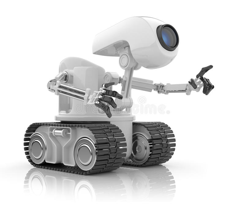 3人为未来派智能机器人谈话