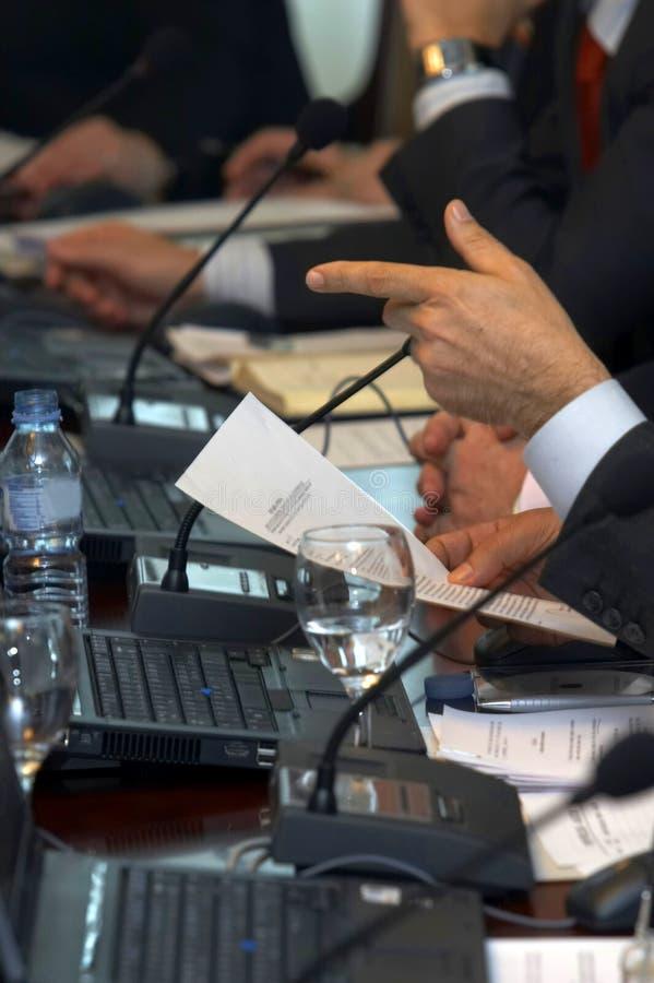 3台膝上型计算机会议 免版税库存照片