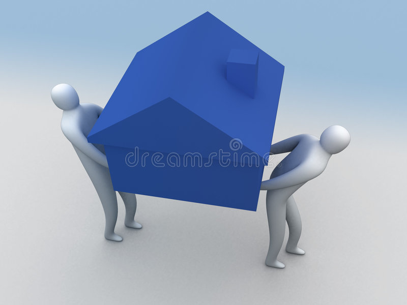 3名家庭搬家工人 向量例证