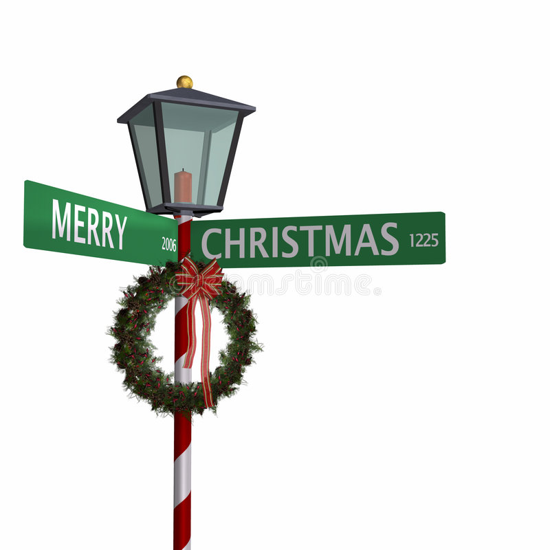 3圣诞节快活的符号街道 库存例证