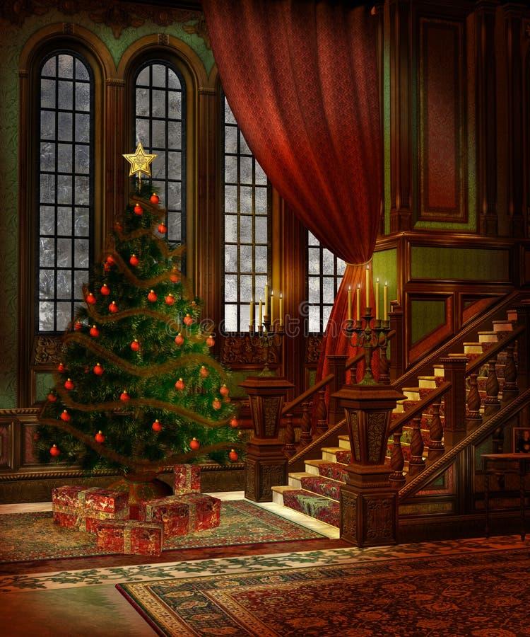 3圣诞节风景 向量例证