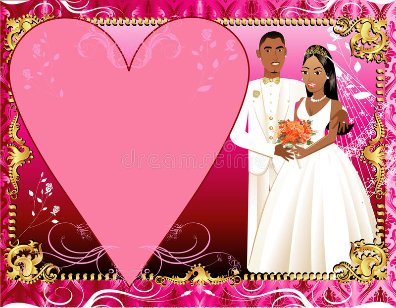 3对夫妇邀请模板婚礼 皇族释放例证