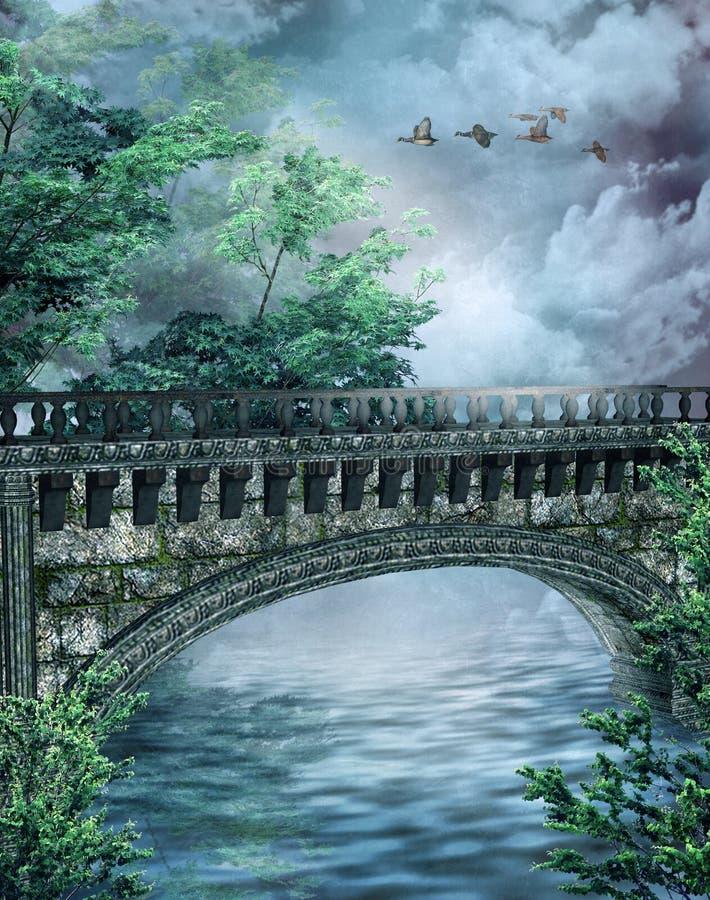3座桥梁幻想 库存例证