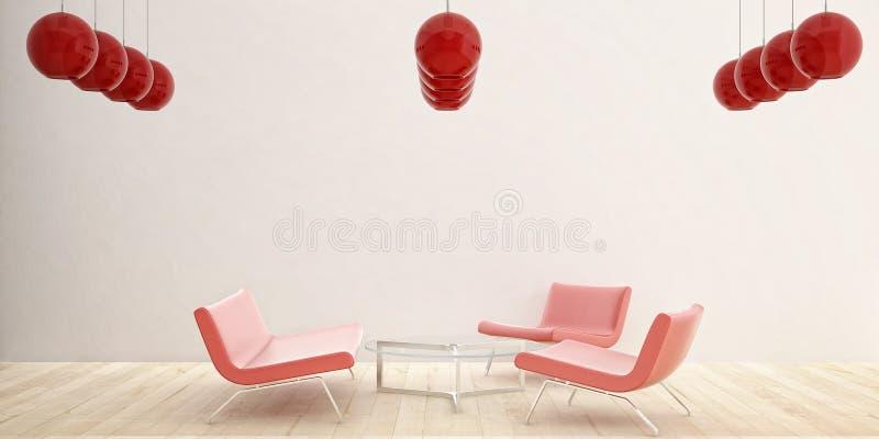 3把椅子红色 向量例证