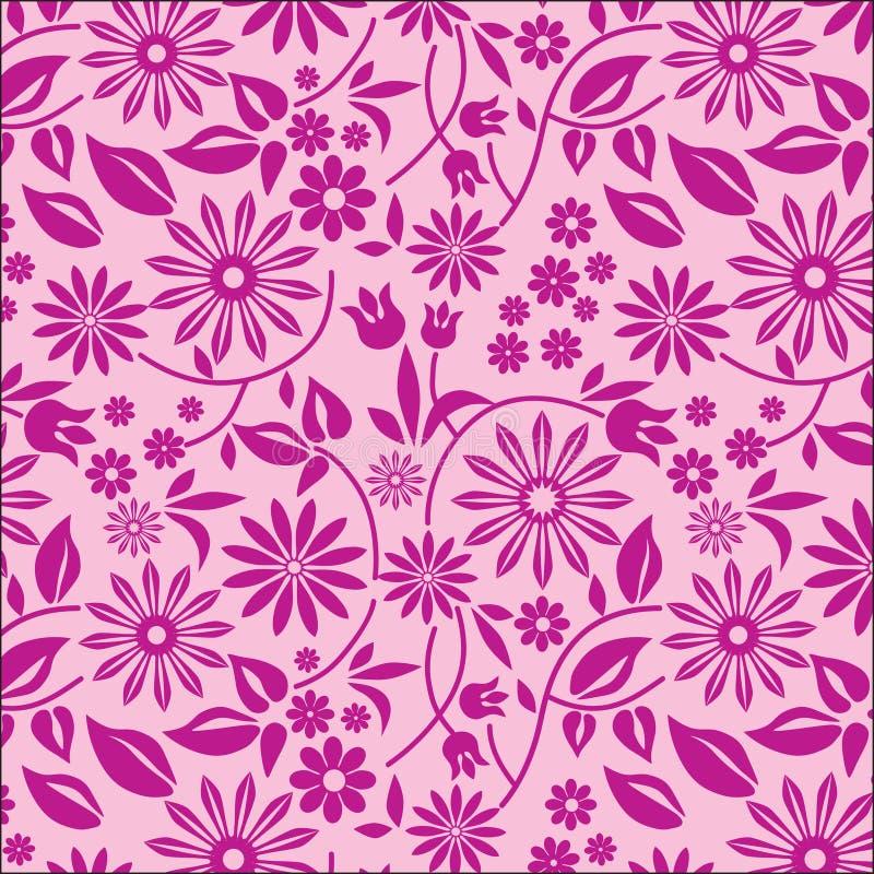 3朵背景花粉红色 向量例证