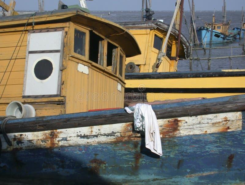 3条小船钓鱼 免版税库存图片