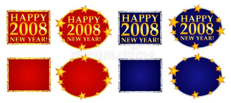 3横幅愉快的徽标新年度 库存例证