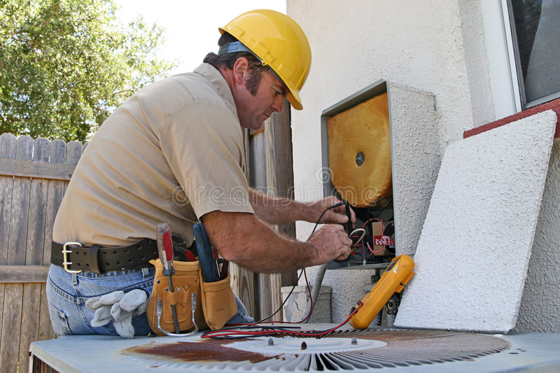 3空调安装工 图库摄影