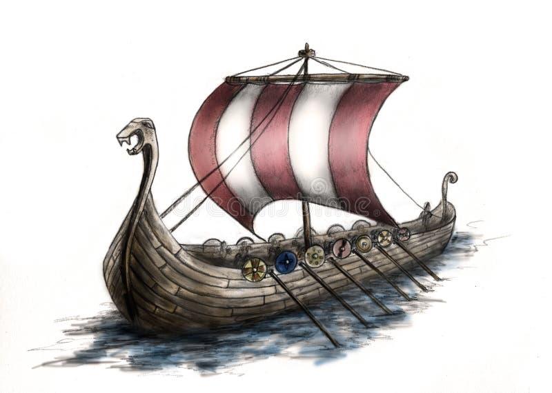 3船北欧海盗 向量例证