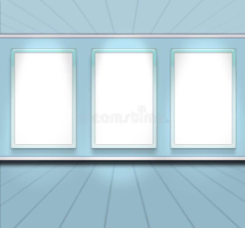 3蓝色颜色空的框架透视图空间天空 皇族释放例证